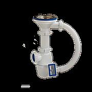 """Сифон для кух. мойки бутылочный с гибким переливом 3 1/2""""х40 выпуск нерж. решетка D=114 мм Орио A-4007"""
