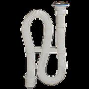 """Сифон для умывальника 1 1/2""""х40 с перех-м на 50 мм L=1000 мм выпуск нерж. решетка D=70 мм Орио AC-3011"""