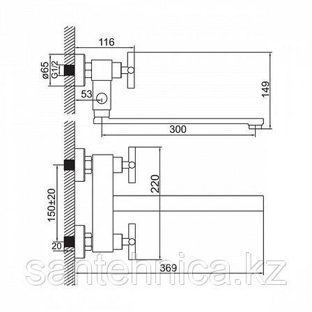 Смеситель для ванны IDDIS Natal 37102T7+T12, фото 2