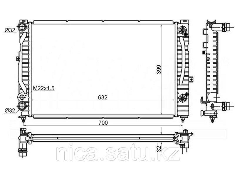 Радиатор AUDI A4/S4 1.6/1.8/1.8T/1.9TD 94-00/AUDI A6/S6 1.9TD 97-04/VW PASSAT ТАЙВАНЬ B5+ 1.6/1.8T/1.9TD/2.0