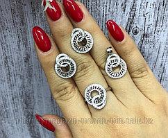 Шикарный набор Серьги,кулон и кольцо. Серебро 925 проба.