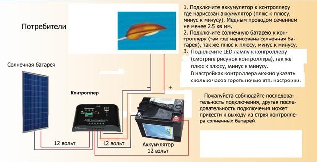 Схема соединения автономного уличного светильника на солнечных батареях