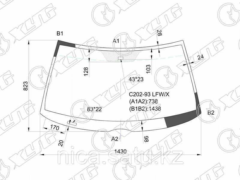 Стекло лобовое +дд в клей  MERCEDES BENZ C CLASS W202 4/5D 93-00