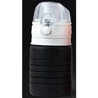 Бутылка для воды складная с карабином SPRING; черная, 550/250 мл, силикон, Черный, -, 29800 35