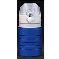 Бутылка для воды складная с карабином SPRING, 550/250 мл, силикон, Синий, -, 29800 24