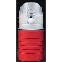 Бутылка для воды складная с карабином SPRING, 550/250 мл,  силикон, Красный, -, 29800 08