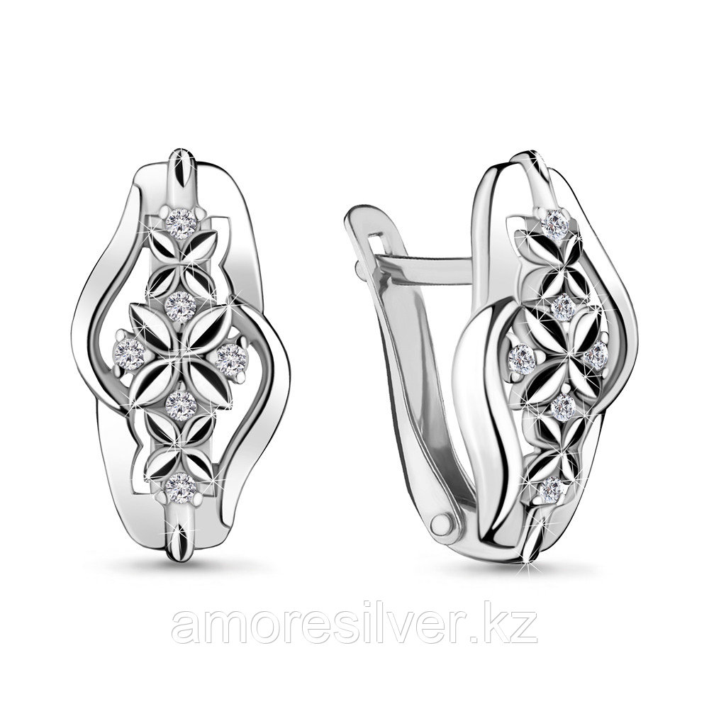 Серьги Aquamarine серебро с родием, фианит 48185А.5