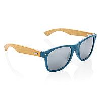 Солнцезащитные очки Wheat straw с бамбуковыми дужками, синий, Длина 14,5 см., ширина 3,5 см., высота 5,3 см.,