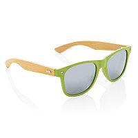 Солнцезащитные очки Wheat straw с бамбуковыми дужками, зеленый, Длина 14,5 см., ширина 3,5 см., высота 5,3