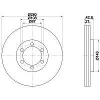 Тормозные диски Hyundai Terracan (01-06, передние, Optimal, D280)
