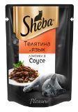 Sheba Pleasure 85г телятина и язык, консервы для кошек, фото 1