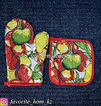 Кухонный набор: Варежка и прихватка, с декором. Материал: Хлопок. Цвет: Разные цвета.