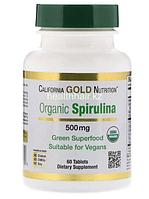California Gold Nutrition, Органическая спирулина, имеет сертификат USDA, 500 мг, 60 таблеток