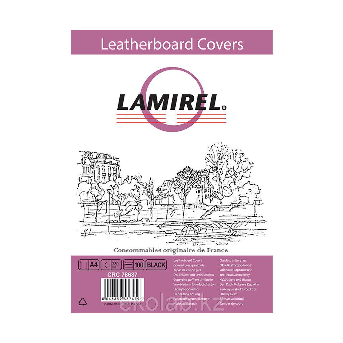 Обложки Lamirel Delta A4 LA-78687, картонные, с тиснением под кожу , цвет: черный, 230г/м²