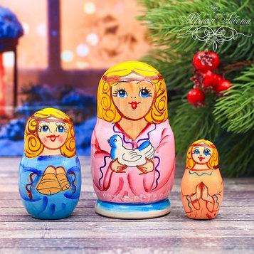 Матрёшка 3-х кукольная «Ангел рождественский», 11 см