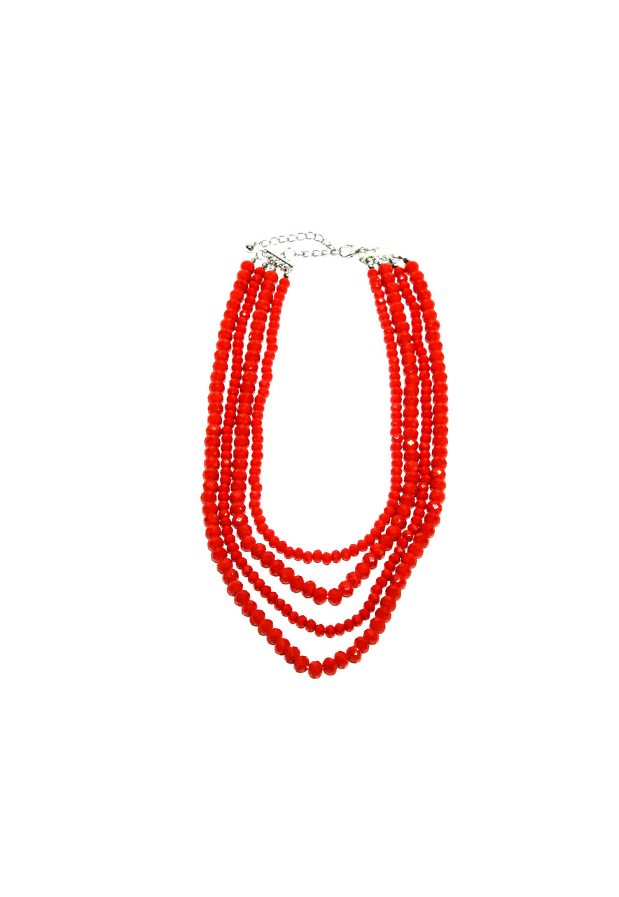 Колье красный бисер  Brosh Jewellery. Тренд 2020г