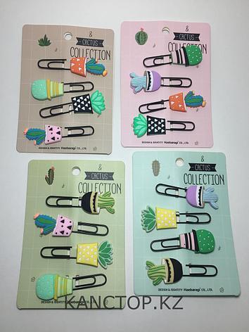 Закладки со скрепкой Cactus collection объемные, фото 2