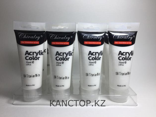 Краски акриловые (104 Titanium white) белые Chivalry, фото 2
