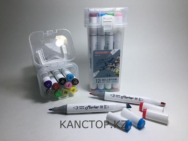 Маркеры Touch (тачмаркеры) толстые двусторонние Xuetong, 12 цветов, фото 2