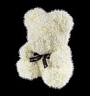 3D Мишка из роз Белый