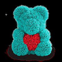 3D Мишка из роз Голубой с красным сердцем