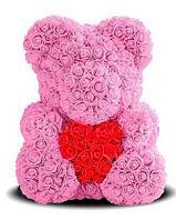 3D Мишка из роз Розовый с красным сердцем