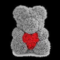 3D Мишка из роз Серый с красным сердцем