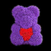3D Мишка из роз Фиолетовый с красным сердцем