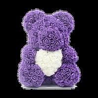 3D Мишка из роз Фиолетовый с белым сердцем