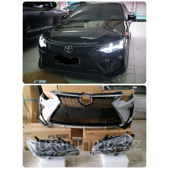 Бампер + решетка тюнинг в стиле LEXUS NX на Toyota Camry 55 2014-2018