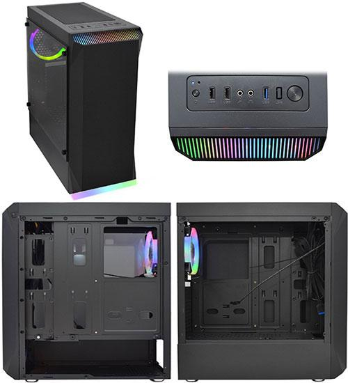 Корпус ATX midi tower APEX Aura (закаленное стекло), black Case RGB strip+ring RGB , (без БП)