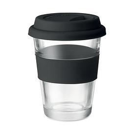 Стеклянный стакан с силиконовой крышкой, черный