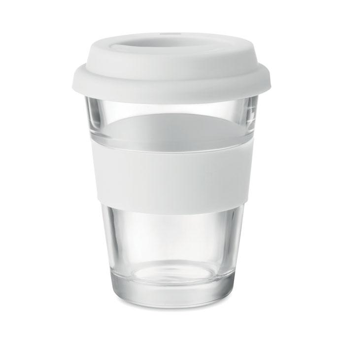 Стеклянный стакан с силиконовой крышкой, белый