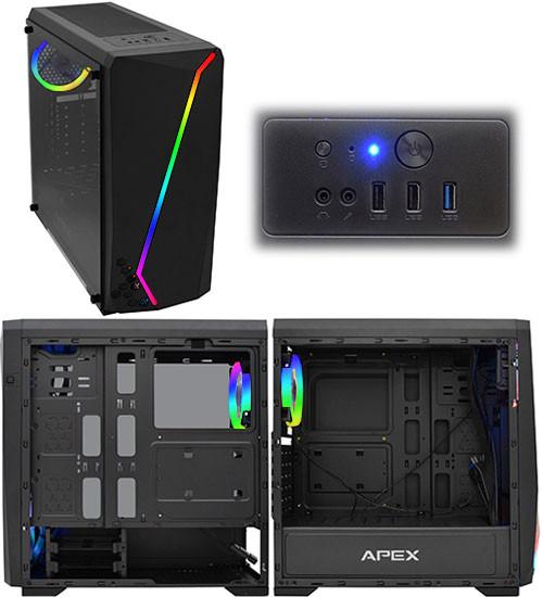 Корпус ATX midi tower APEX Lightning (закаленное стекло), black Case RGB strip+ring