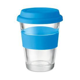Стеклянный стакан с силиконовой крышкой, синий