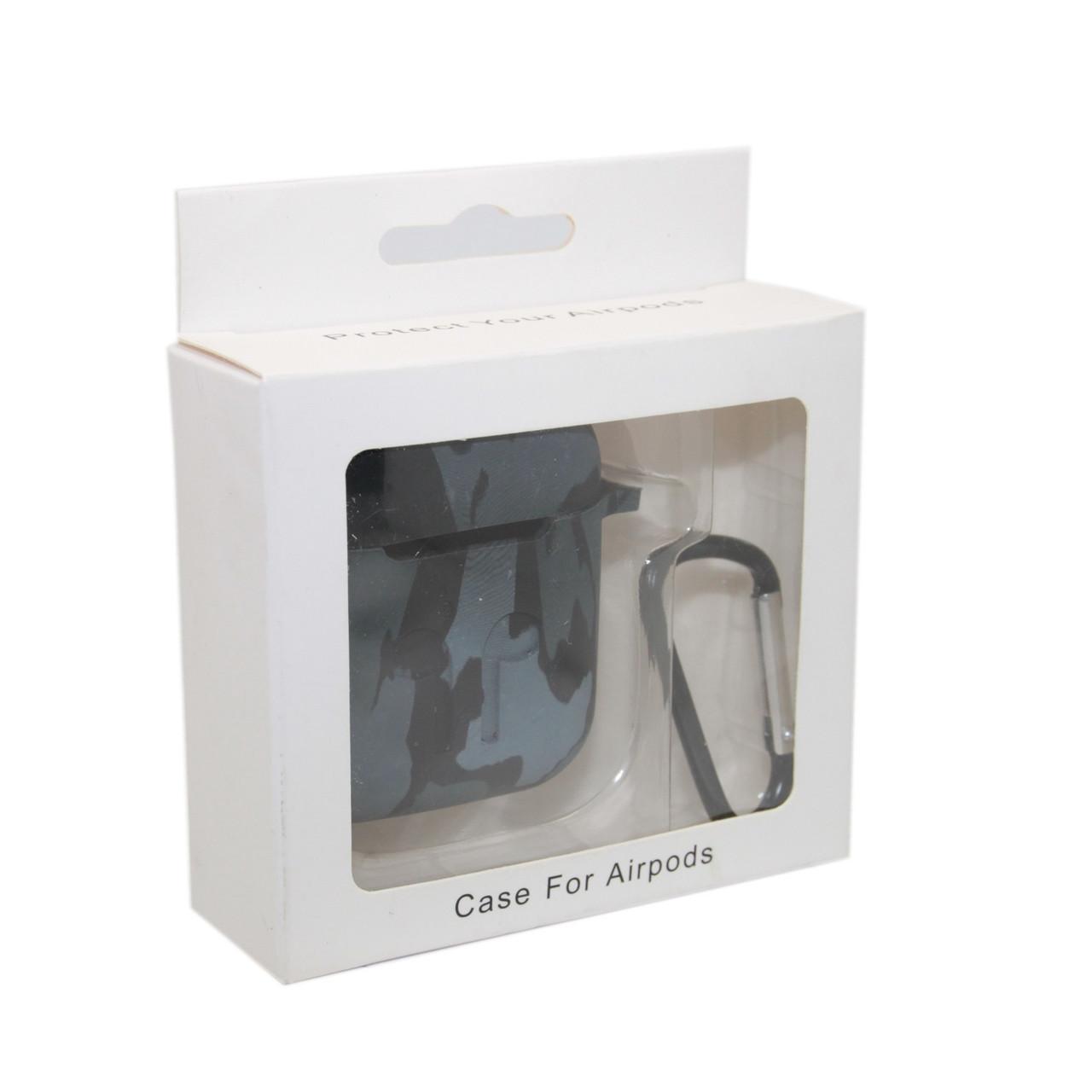 Чехол Silicone Case Print Камуфляж серый для Airpods