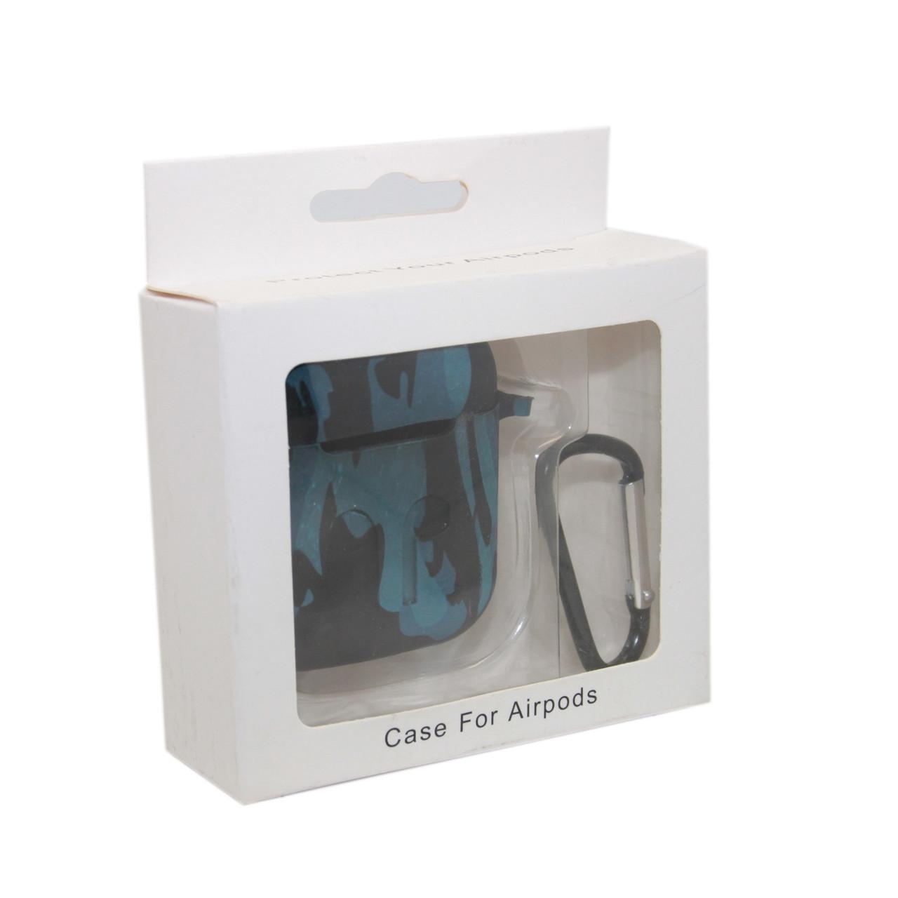 Чехол Silicone Case Print Камуфляж синий для Airpods
