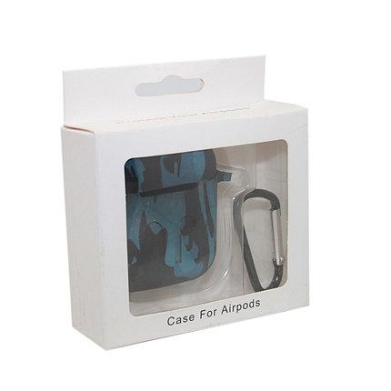 Чехол Silicone Case Print Камуфляж синий для Airpods, фото 2