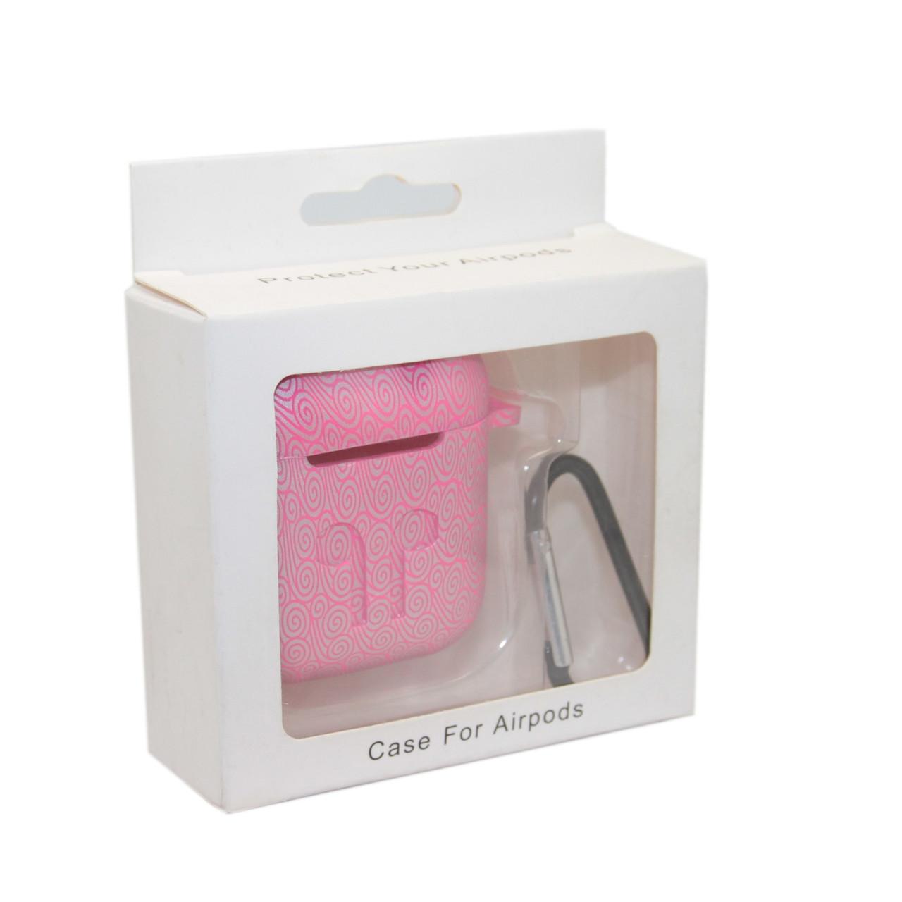 Чехол Silicone Case Print Узор розовый для Airpods