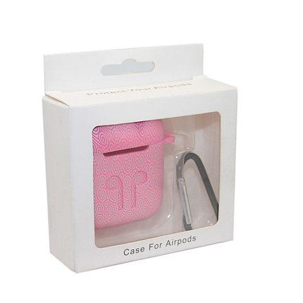 Чехол Silicone Case Print Узор розовый для Airpods, фото 2