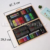 Набор для рисования в деревянном кейсе 220 аксессуаров фломастеры мелки карандаши краски