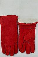 Перчатки красные сварщика Зимние, утепленные