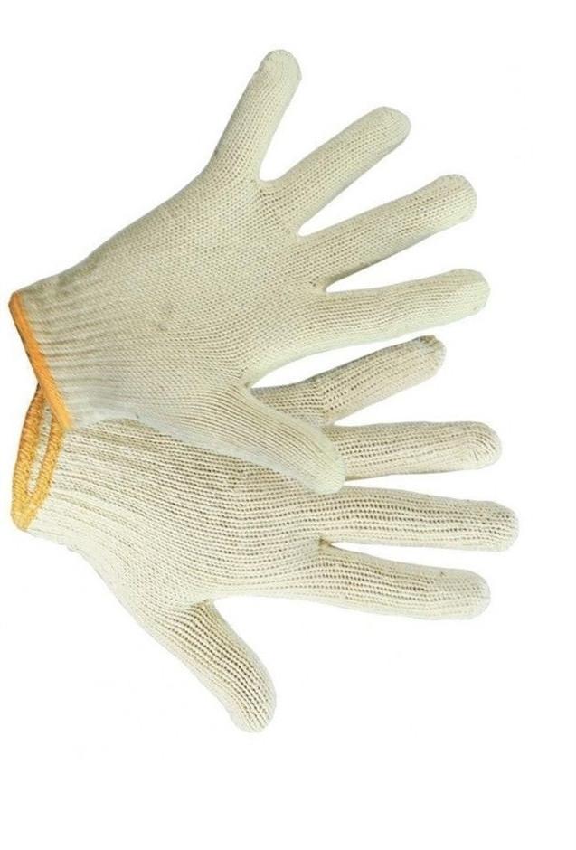 Перчатки белые с оранжевой каймой х/б 888