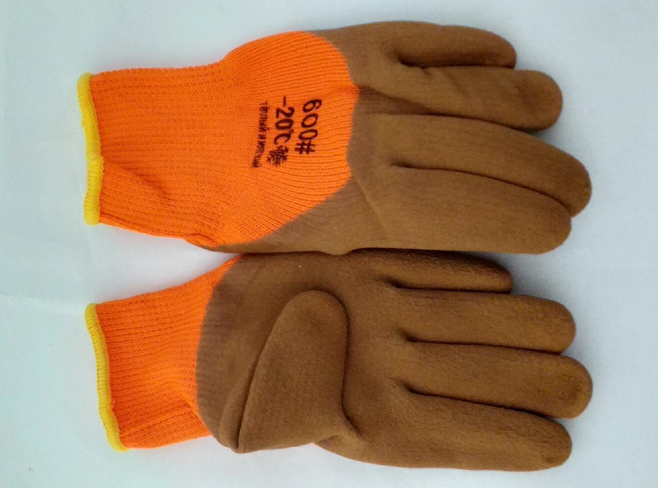 Перчатки прорезиненные коричневые утепленные -20С