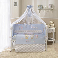 Комплект в кроватку Perina Венеция Лапушки 7 предметов голубой, фото 1
