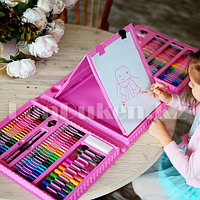 Набор юного художника с двусторонним мольбертом 208 аксессуаров Чемодан творчества розового цвета