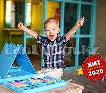 Набор юного художника с двусторонним мольбертом 208 аксессуаров Чемодан творчества голубого цвета