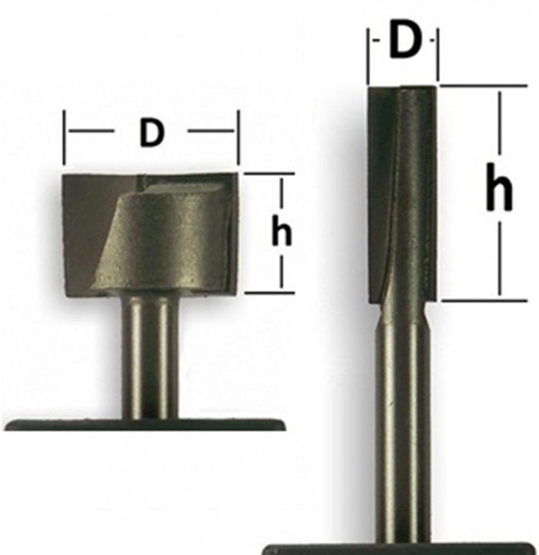 Фреза прямая пазовая Глобус D=24,l=17,d=8mm,L=40 арт.1007 D24х17
