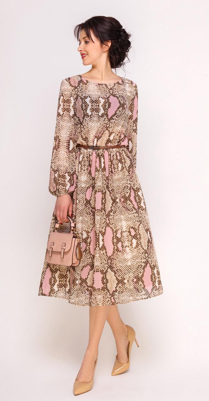Платье Swallow-241/1, песочный со светло-розовым, 46