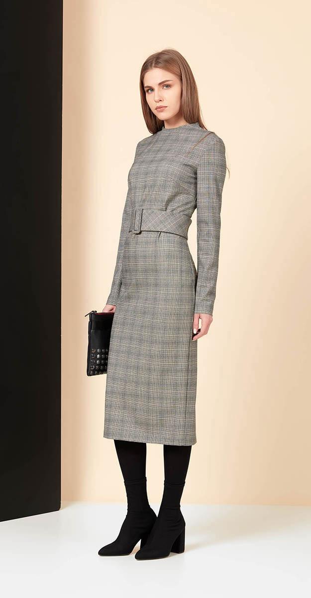 Платье Favorini-21891, клетка серая, 42